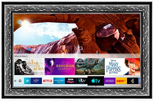 Framed Mirror TV with Samsung 50 inch 4K Ultra HD HDR Smart LED TV TVPlus. Silver Ornate Frame