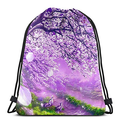 Elsaone Peach Blossom Drawstring Backpack Waterproof Yoga Travel Bag 36 x 43 cm/14.2 x 16.9 Inch