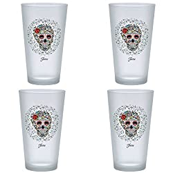 Officially Licensed Fiesta Skull and Vine Sugar 16-Ounce Frosted Tapered Cooler Glass Set of 4