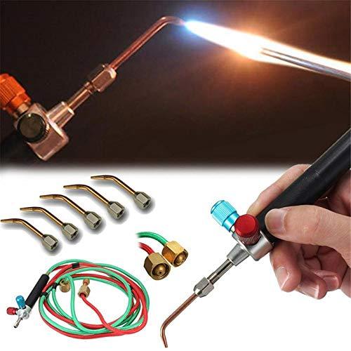DoubleleSchmuck Juweliere Micro Mini Gas Kleine Fackel Schweißen Löten Kit Werkzeuge, Multifunktions Mini Schmuck mit 5 stücke Ersatz Düsen