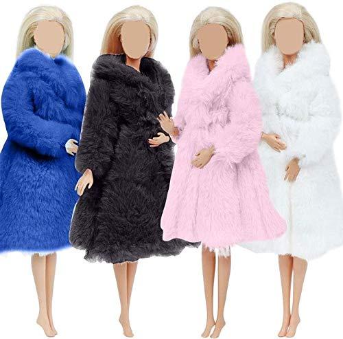 XinYiC Abrigo de franela de manga larga y suave, multicolor, para invierno, accesorios de ropa informal, para muñecas de 11.5 pulgadas, regalo de Navidad, 4 piezas, # D