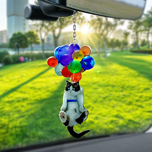Cat Car Hanging Ornament with Colorful Balloon, Car Pendant Decorations Interior Rearview Mirror Ornaments, Cute Flying Cat with Colorful Balloon Bag Hanging Pendant for Women Kids