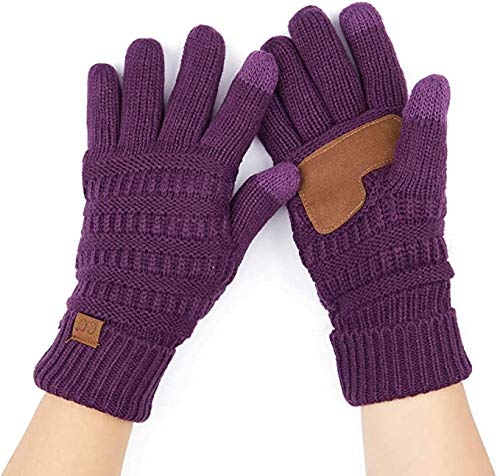 Knitted Lined Gloves - Dark Purple