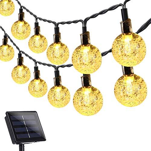Guirnaldas Luces Exterior Solar, KNMY 12M Cadena de Luces con 100 LED Bola, IP66 Impermeable 8 Modos de Luz para Decoración Hogar Jardín Terraza Patio Fiestas Navidad Bodas
