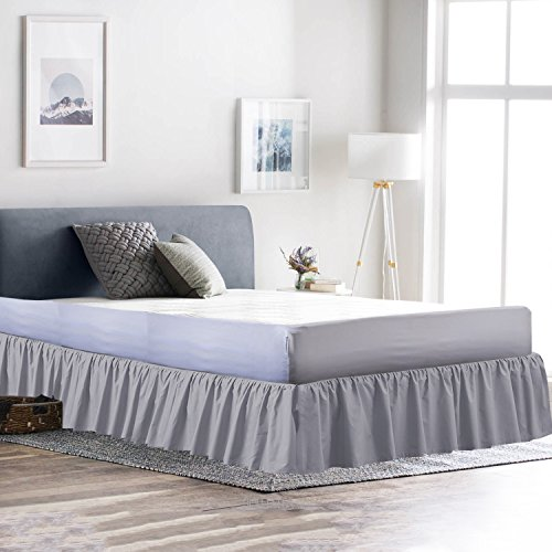 Dust Ruffle Bed Skirt 100% Microfiber Bed Wrap with Platform (+15 inch Drop)- Easy Fit Gathered Style 3 Sided Coverage King, Light Grey