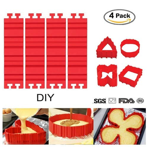 DIY Silicone Cake Molds- Magic Bake Snake, 4 PCS/lot Nonstick Flexible Reusable, BPA-free Food Grade,Design Your Cakes Any Shape, Easy to Use and Wash, Best gift for your, Special gifts for your loves