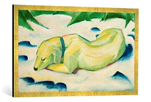 Gerahmtes Bild von Franz Marc Liegender Hund im Schnee, Kunstdruck im hochwertigen handgefertigten Bilder-Rahmen, 100x50 cm, Gold Raya