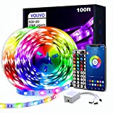 VOLIVO Smart RGB Led Strip Lights 100ft, App Controlled Bluetooth Led Light Strip Sync with Music, Color Changing Led Lights for Bedroom, Home Decoration