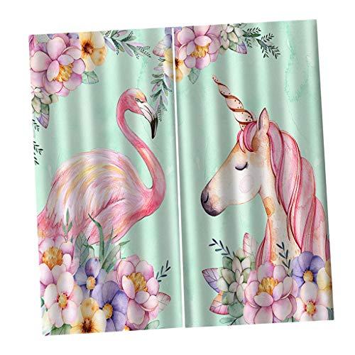 F Fityle Flamingo Gardine Vorhang Verdunkelungsvorhang mit Kräuselband Deko Schal für Wohnzimmer Schlafzimmer Kinderzimmer - 170 x 200 cm