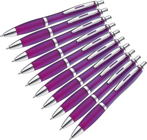10 Stück Transparente Kugelschreiber Violett
