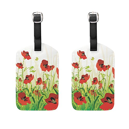 COOSUN Red Poppies Backround Luggage Tags Travel Labels Tag Name Card Holder for Baggage Suitcase Bag Backpacks, 2 PCS