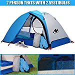 2 Person Backpacking Tent and Camping Tents, AYAMAYA Ultralight Waterproof Double Layer Easy Setup 2 Doors Lightweight 2 Man People Backpack Tent for Couples Hiking Fishing Motorcycle Bikepacking 116