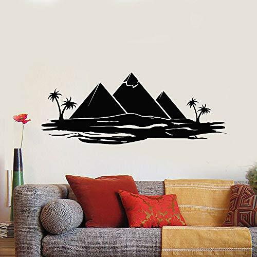 QQCYWZK Tourismus Vinyl Wandtattoo Schlafzimmer Reisen Ägypten Pyramiden Palmen Ozean Wandaufkleber Dekor Wohnzimmer Klassenzimmer Dekoration 42x106cm