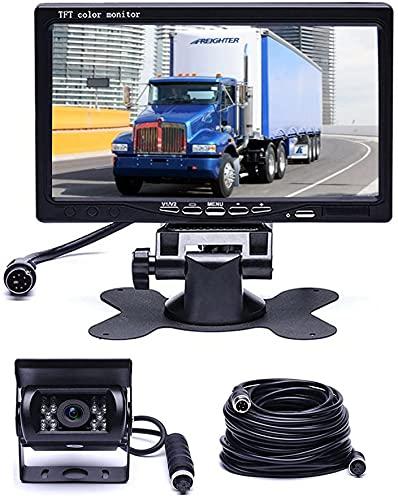 Hikity Kit Telecamera e Monitor di Backup, Telecamera Retromarcia iImpermeabile per Visione Notturna a 18 LED IR + 7  TFT per Retrovisione Sistema di Parcheggio per Veicoli per Camper