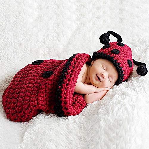 Ouuager-Home Tenues de Photographie de bébé Photographie Vêtements Studio Laine à Tricoter Knitting Apparel Beetle bébé Sac de Couchage (Color : Red, Size : One Size)