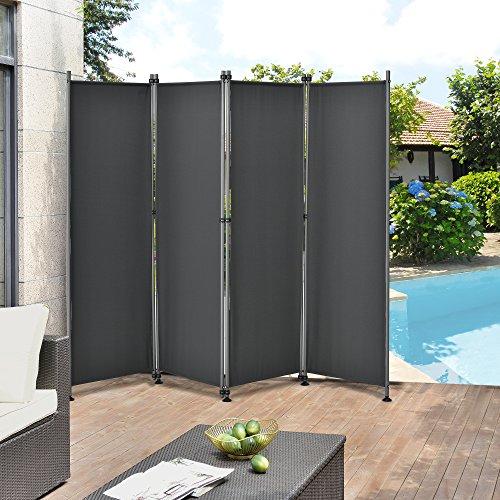 pro.tec Outdoor Trennwand - 170 x 215cm - Paravent Sichtschutz Spanische Wand Garten Grau