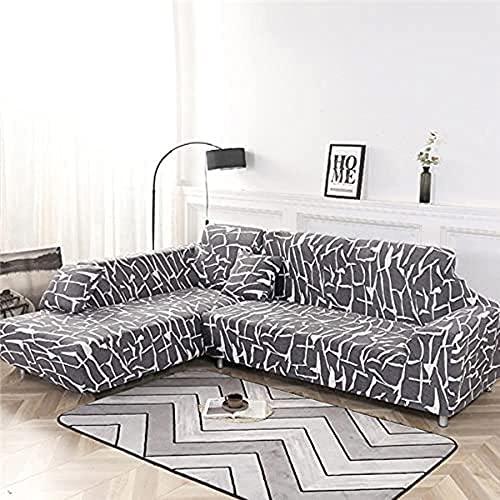 POPXP Funda elástica para sofá de 1 2 3 4 plazas, geométrica, elástica, funda de sofá para sofá en forma de L, funda de sofá de esquina seccional Chaise longue A14, 2 plazas, lavable