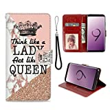Samsung Galaxy S9 Phone Wallet Case Queen Crown Quote Marble TPU Leather Flip Cover with Card Slot Wallet Case for Samsung Galaxy S9