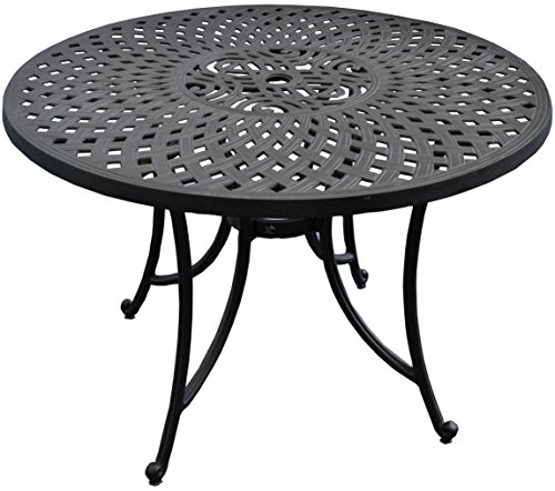 Crosley Furniture Sedona Solid-Cast Aluminum Outdoor Dining Table, 42-inch, Black