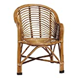 HM Service Bamboo Cane Chair with Cushion (Brown, Standard Size)