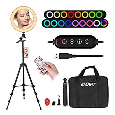 """10"""" Ring Light with 55"""" Extendable Tripod Stands & Cell Phone Holder, EMART 10 Colors LED RGB Camera Selfie Halo Light for Photography, Makeup, YouTube Video, Vlogging, Live Streaming by Emartinc"""