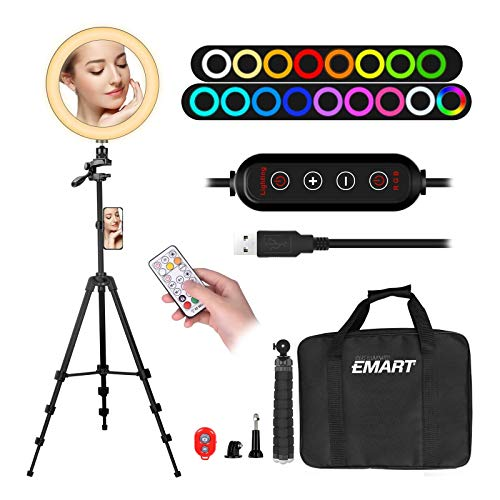 """Upgrade 10"""" Ring Light with 55"""" Extendable Tripod Stands & Cell Phone Holder, EMART 10 Colors LED RGB Camera Selfie Halo Light for Photography, Makeup, YouTube Video, Vlogging, Live Streaming"""