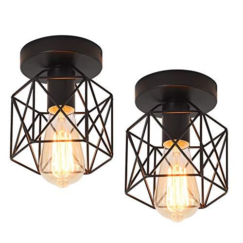Qcyuui Luz de techo industrial, lámpara de techo de montaje semi empotrado, iluminación colgante de jaula negra rústica de metal de granja para porche, escalera, cocina E27 (2 unidades)