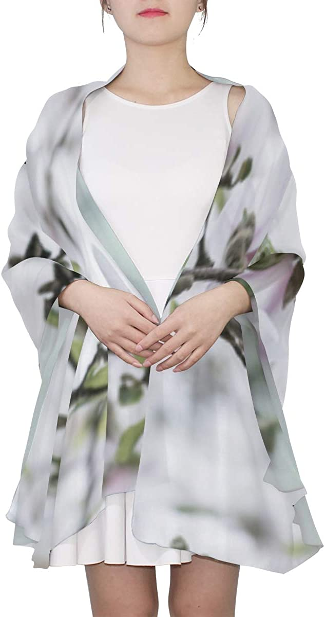Blooming Of White Magnolia's Flower Unique Fashion Scarf For Women Lightweight Fashion Fall Winter Print Scarves Shawl Wraps Gifts For Early Spring