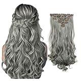 7 extensiones de pelo Feshfen de 50 cm con 16 pinzas, pelo sintético largo y rizado para mujer, 130 g