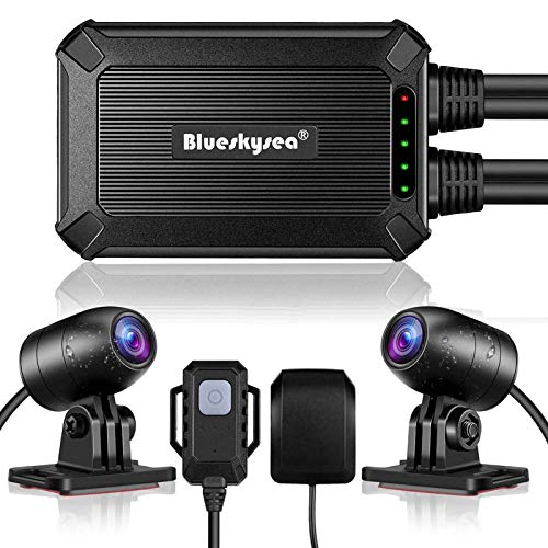 Blueskysea B1M Motorcycle Dash Cam with GPS 32GB Memory No Screen Safe Driving 135°Wide Angle IP67 Waterproof Front and Rear Motor Drive Recorder 1080P GPS Optional G-Sensor WDR Loop Recording WiFi