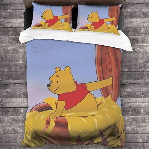 QWAS Ropa de cama de Pooh Bear de Disney, linda dibujos animados, para niños y niñas, supersuave y cómoda (A1,135 x 200 cm + 80 x 80 cm x 2)