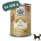 Wildes Land | Nassfutter für Hunde | Nr. 2 Huhn | 6 x 400 g | mit Karotten, Zucchini, Wildkräutern & Distelöl | Glutenfrei | Extra viel Fleisch | Beste Akzeptanz und Verträglichkeit