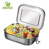 Aiskki 1400ml Edelstahl Lunchbox, auslaufsicher Brotdose mit herausnehmbarer Trennwand, Eco Bento-Boxen, kinderleicht zu reinigen, tragbar hitzebeständig große Kapazität für Kinder &...