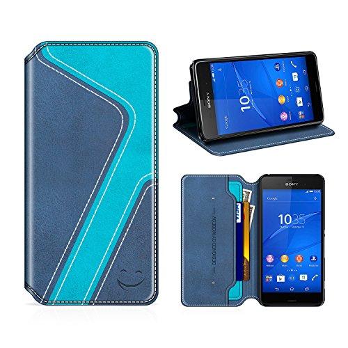 MOBESV Smiley Sony Xperia Z3 Hülle Leder, Sony Xperia Z3 Tasche Lederhülle/Wallet Case/Ledertasche Handyhülle/Schutzhülle mit Kartenfach für Sony Xperia Z3, Dunkel Blau/Aqua