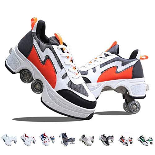 AGLOAT Rollschuhe Mädchen/Damen, Inline-Skates Kinder, Schuhe Mit Rollen Verstellbare Quad Skate, 2-in-1-mehrzweckschuhe Skateboardschuhe Skating Sneakers,Rot2-40EU