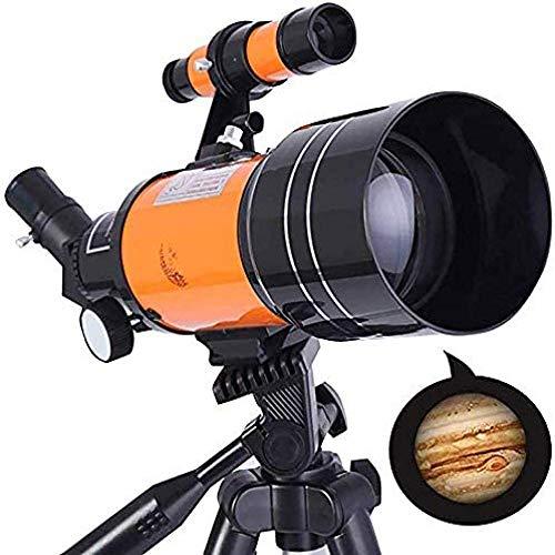 Telescopio Telescopio de observación de Estrellas, telescopio Refractor portátil Equipado de 70 mm con trípode Ajustable, Adaptador para teléfono Inteligente + Mochila para Principiantes y niños