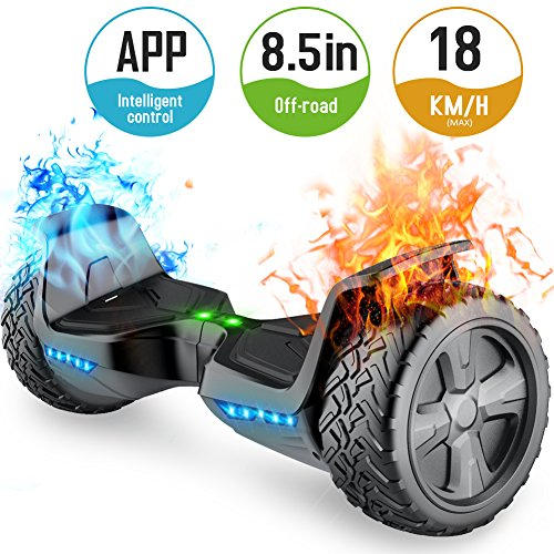 TOMOLOO Off-Road Hoveroard and Self-Balancing Scooter with Bluetooth Speaker and Lights - 8.5 Hover Board with App UL2272 Certified for 265 lbs MAX Weight… … …