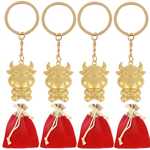 Schlüsselanhänger Kuh, Glückstüte 2021, Neujahrsrind, Maskottchen, Schlüsselanhänger, niedliche Kuh, Dekoration, 4 Stück