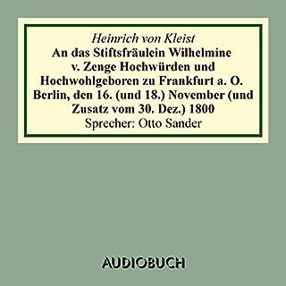 An das Stiftsfräulein Wilhelmine v. Zenge Hochwürden und Hochwohlgeb. zu Frankfurt a. O. Titelbild