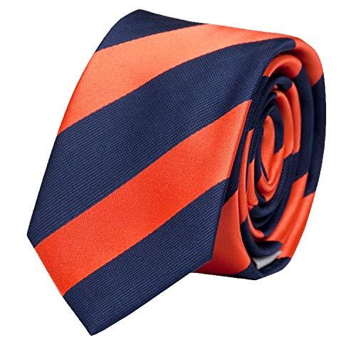 Fabio Farini - cravate rayée de différentes couleurs et largeurs hommes Bleu-Foncé-Orange 8 cm