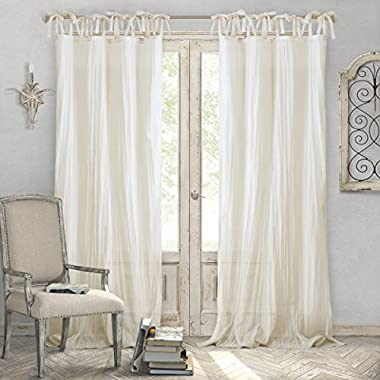 Elrene Home Fashions Crushed Semi-Sheer Adjustable Tie Top One Window, 52  x 95  (1 Panel), Ivory