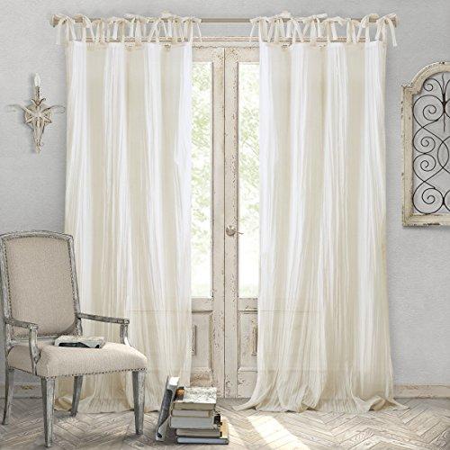 "Elrene Home Fashions Crushed Semi-Sheer Adjustable Tie Top Single Panel Window Curtain Drape, 52"" x 95"" (1, Ivory"