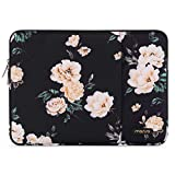 MOSISO Laptop Sleeve Bag Compatible with 13-13.3 inch MacBook Pro, MacBook Air, Notebook Computer, Vertical Style Water Repellent Polyester Protective Case Cover with Pocket, Apricot Peony