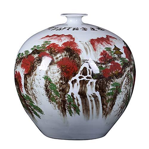 J.Mmiyi Große Keramik Bodenvase Blumenvase,China Berg Wasser Szenen Handgefertigte Dekorative Vase Für Sammlerkunst Geschenk,A