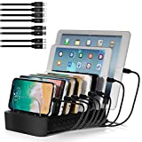 NEXGADGET USB Charging Station Dock for Multiple Devices, 8-Port Desktop Charger,Charging Stand Organizer for Smart Phone,Tablet and Other USB Devices-8' Cables Included