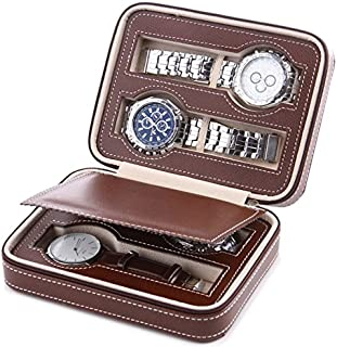 COMELYJEWEL Watch Dislpay Box Organizer Brown PU Leather Portable Watches Travel Box Case for Men (4-Slot)