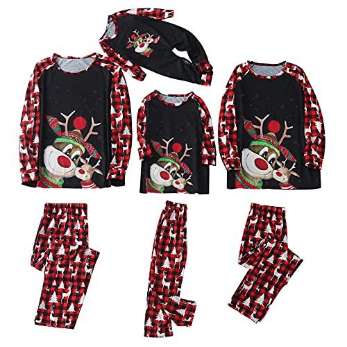 Natale Famiglia Pigiama Natale Famiglia Coordinati Due Pezzi Uomo Papà Natale Alce Stampa T-shirt Camicetta Top e Pantaloni Pagliaccetto Tuta Pigiama Set Bambino Ragazzi (B-(Uomo Padre), XXL)