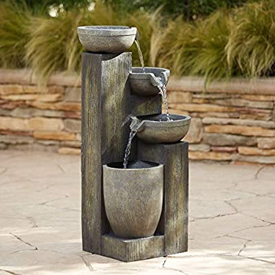 """John Timberland Four Tier Rustic Outdoor Floor Water Fountain with Light LED 40 1/2"""" High Cascading for Yard Garden Patio Deck Home"""