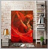 mmzki Inicio Cocina Tienda Bailarina de Flamenco española Pintada a Mano Pintura al óleo sobre Lienzo Bailarina de España Bailando con Vestido Rojo Pinturas al óleo-40x60CM_KING2
