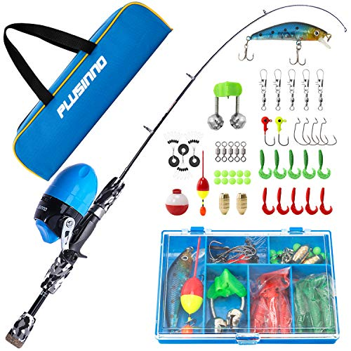 PLUSINNO Kids Fishing Pole with Spincast Reel Telescopic Fishing Rod Combo Full Kits for Boys, Girls, and Adults(Black, 150cm 59.02In) Georgia